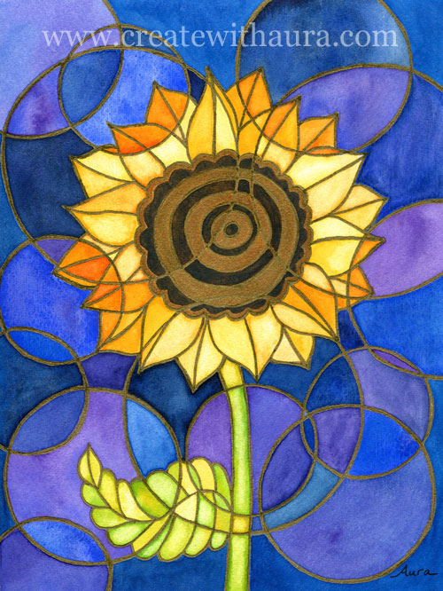 Golden Circles Watercolor And Ink Whimsical Flower Painting