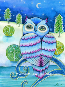 Whimsical winter owl in mixed media