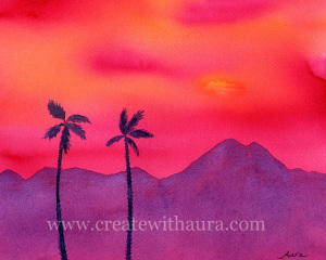 Glorious Desert Sunset Watercolor Painting