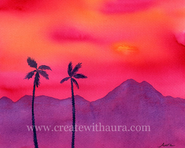 Painting a Bold Desert Sunset in Watercolor